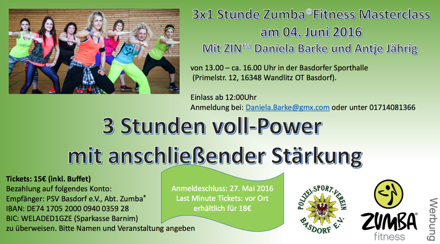 Willkommen beim Zumba Fitness Masterclass in Basdorf
