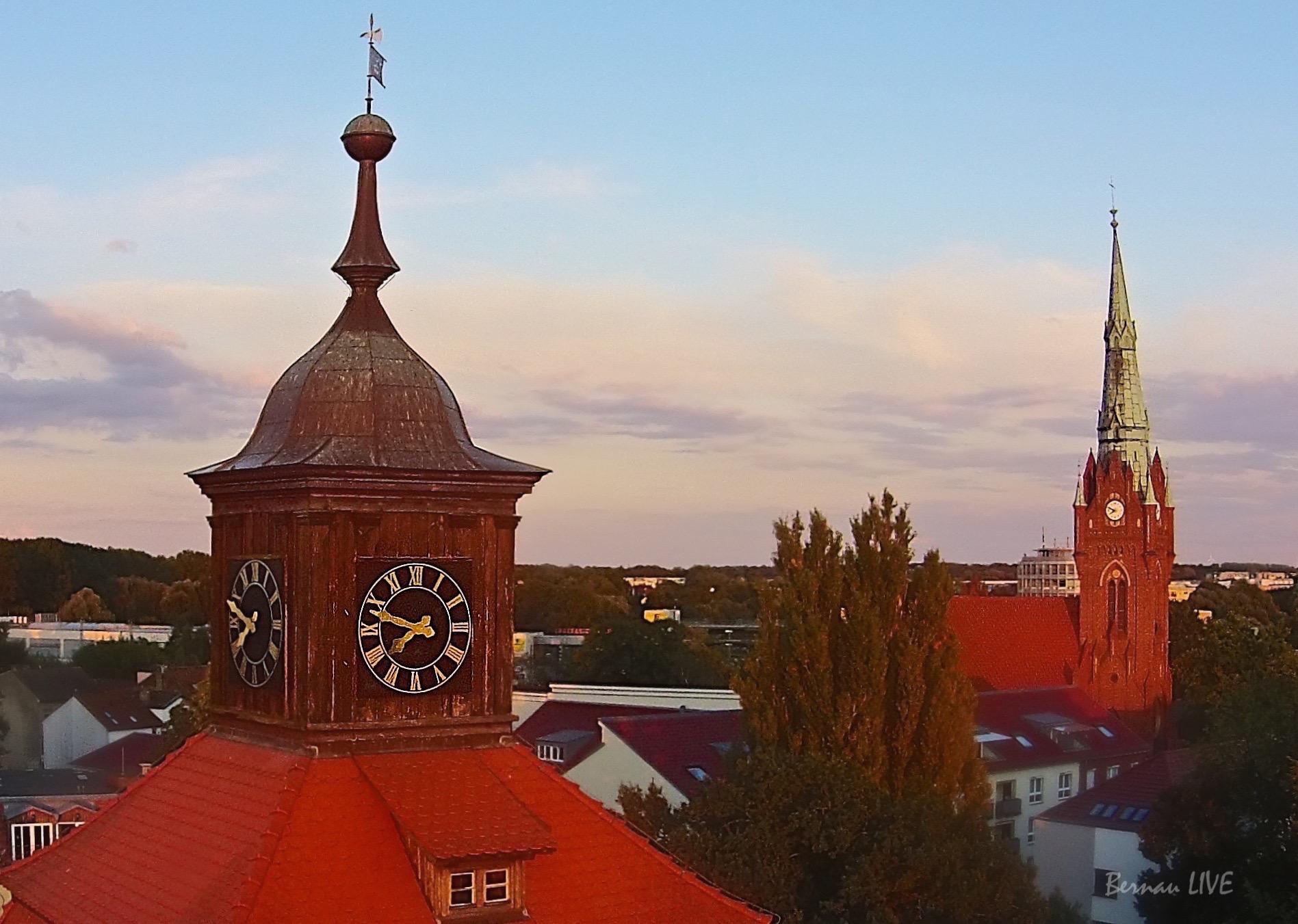 Bernau-Barnim, Bernau, Luftbild Bernau, Barnim, Innenstadt Bernau, Panorama Bernau