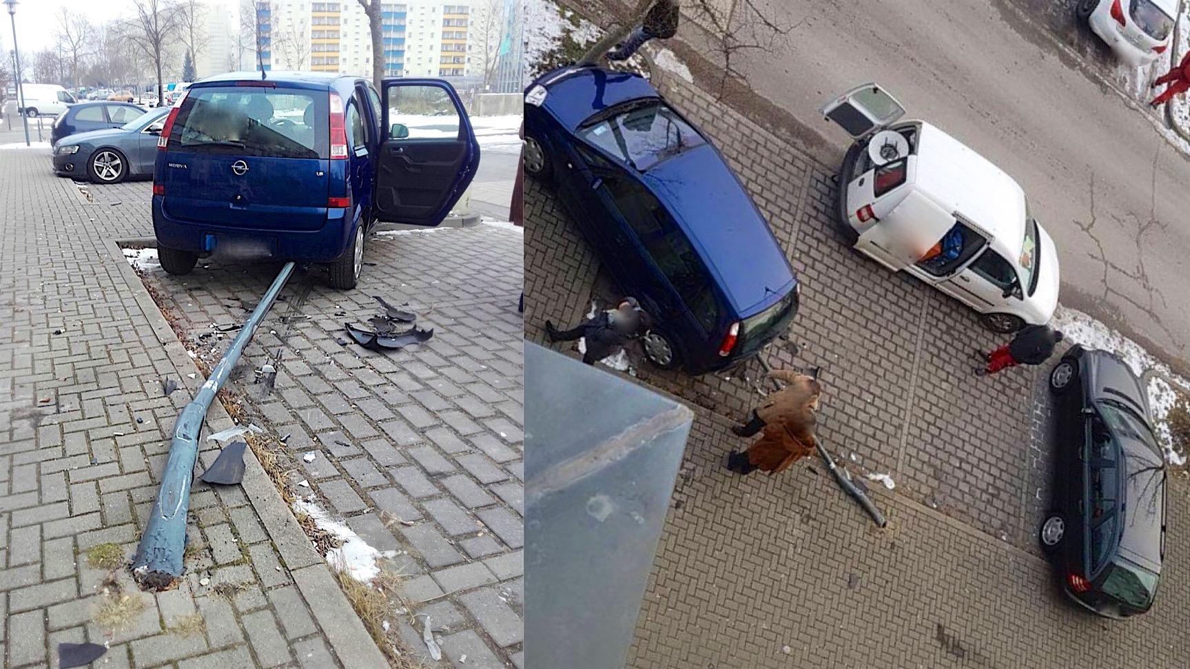 Bernau: Bremse und Gas verwechselt - Straßenlaterne überfahren