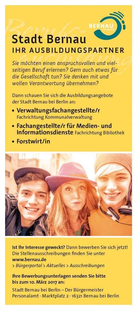 Ausbildungsangebote der Stadt Bernau bei Berlin