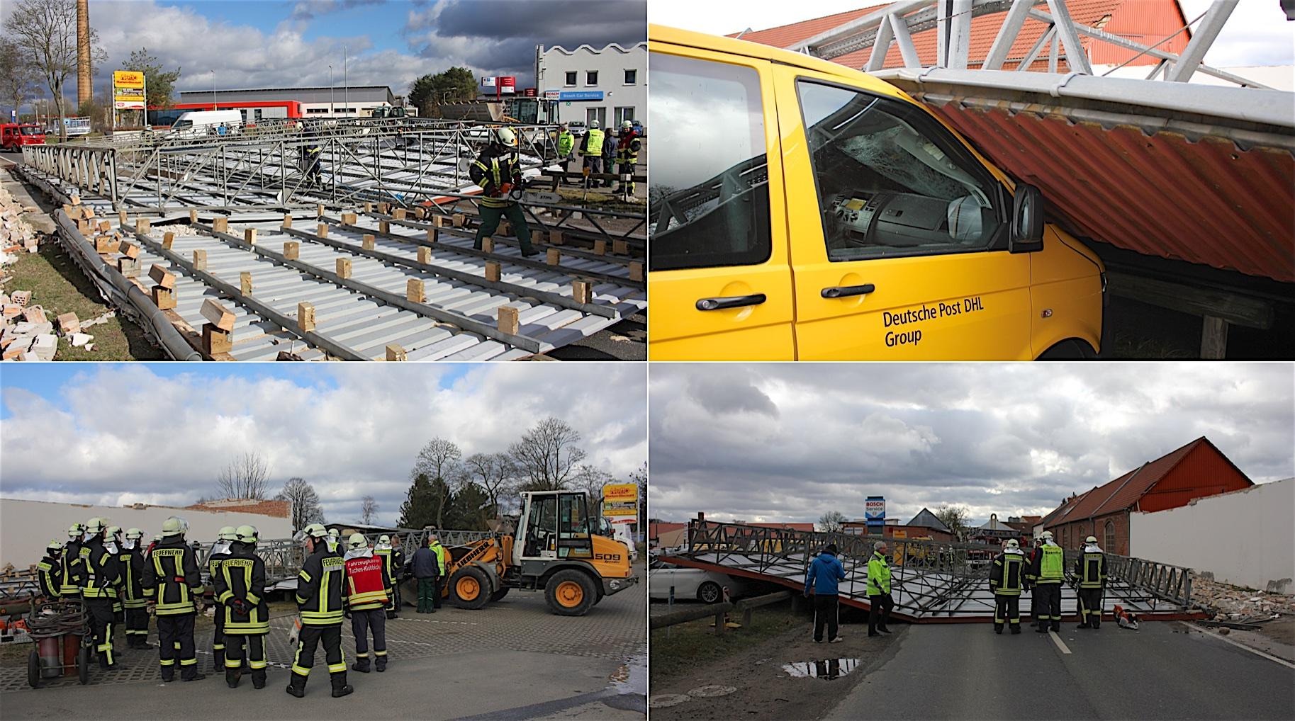 Biesenthal (Barnim): Sturm fegte ein komplettes Dach auf 3 Autos