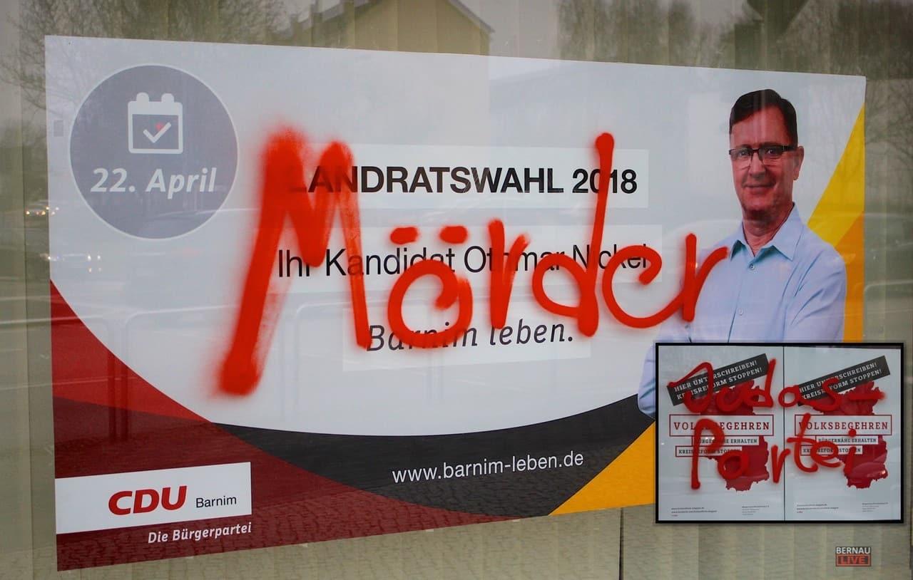Bürgerzentrum der CDU Bernau mit Hassparolen beschmiert