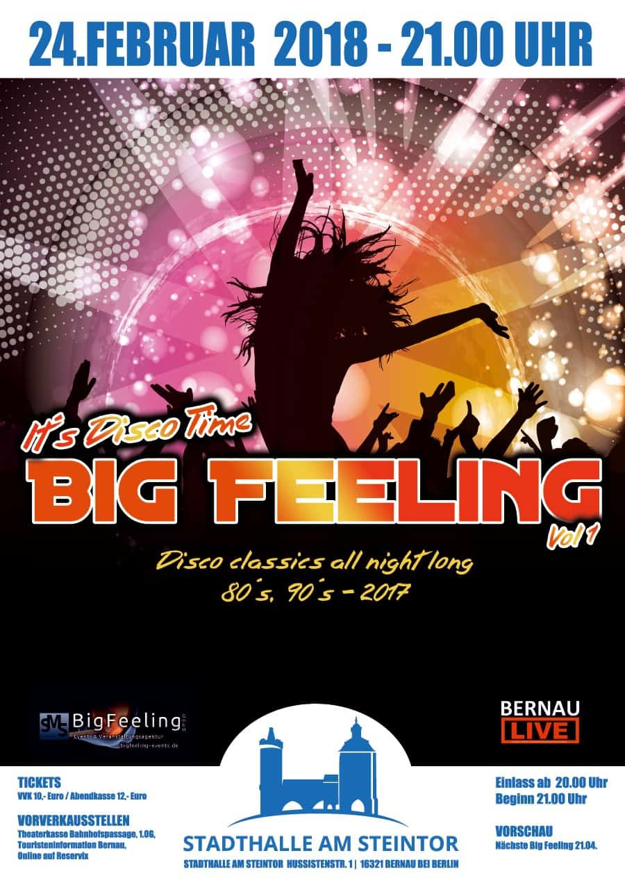 "Neu in Bernau: ""Big Feeling"" - große Disco-Party in der Stadthalle"