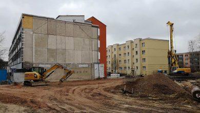 Rathausneubau in Bernau: Auch im Winter wird gearbeitet