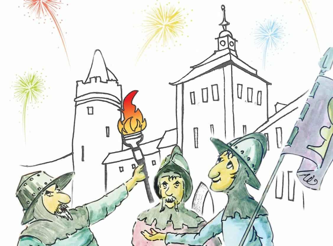 Hussitenfest Bernau 2018: Fackelumzug und Feuerwerk am Freitag