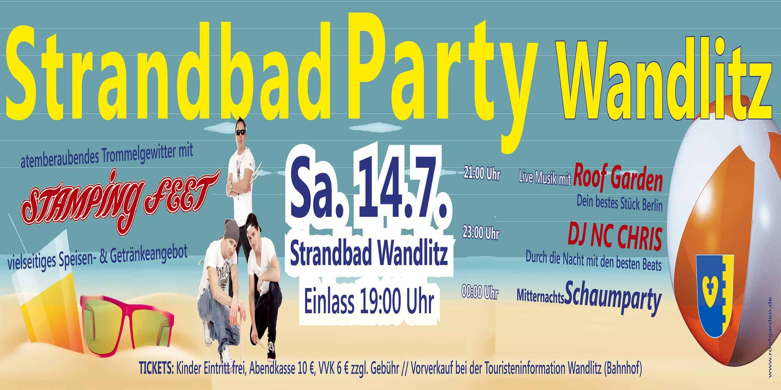 Strandbad Party in Wandlitz mit STAMPING FEET, Roof Garden und Dj NC Chris