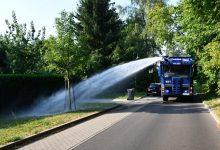 Bundespolizei unterstützt Ahrensfelde mit Wasserwerfern beim Gießen