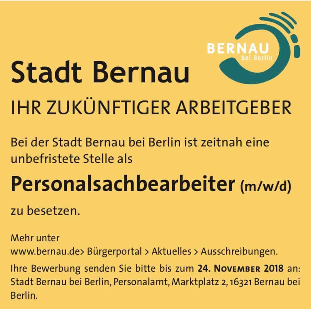 Stellenangebot der Stadt Bernau: Personalsachbearbeiter (m/w/d)