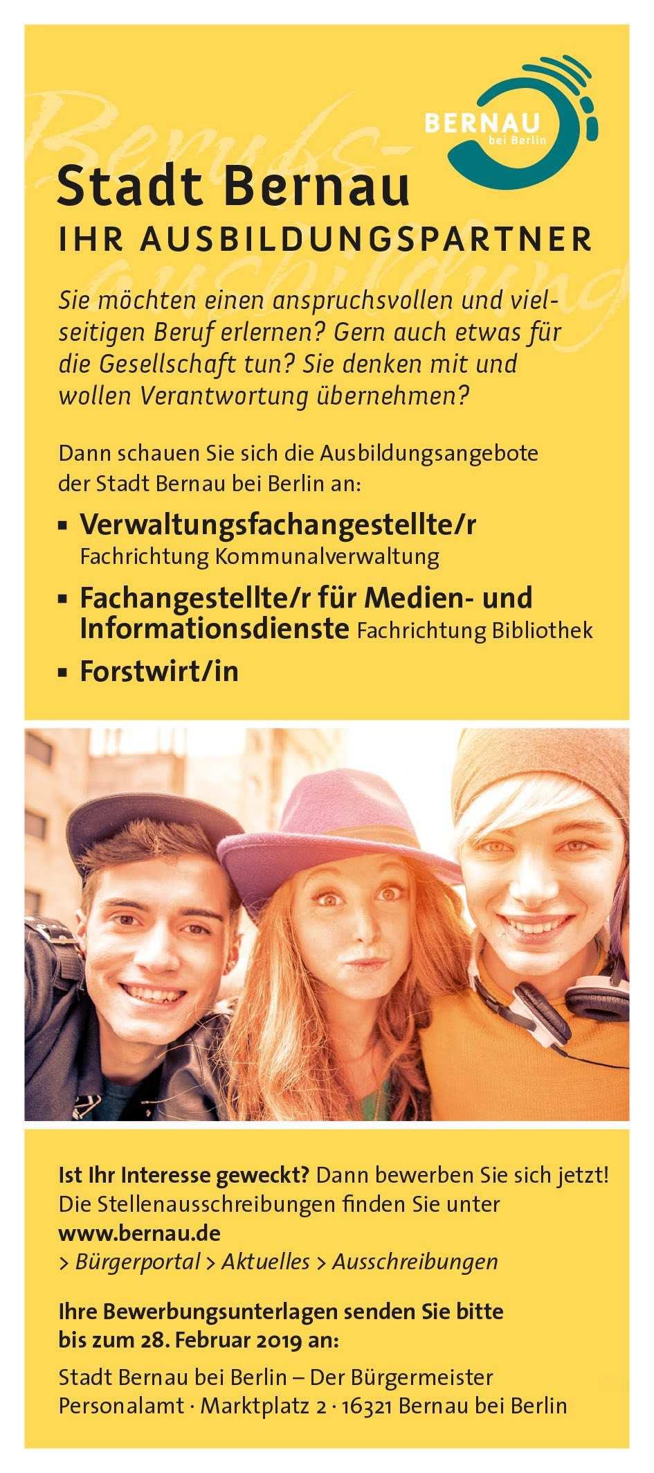 Deine Ausbildung bei der Stadt Bernau bei Berlin