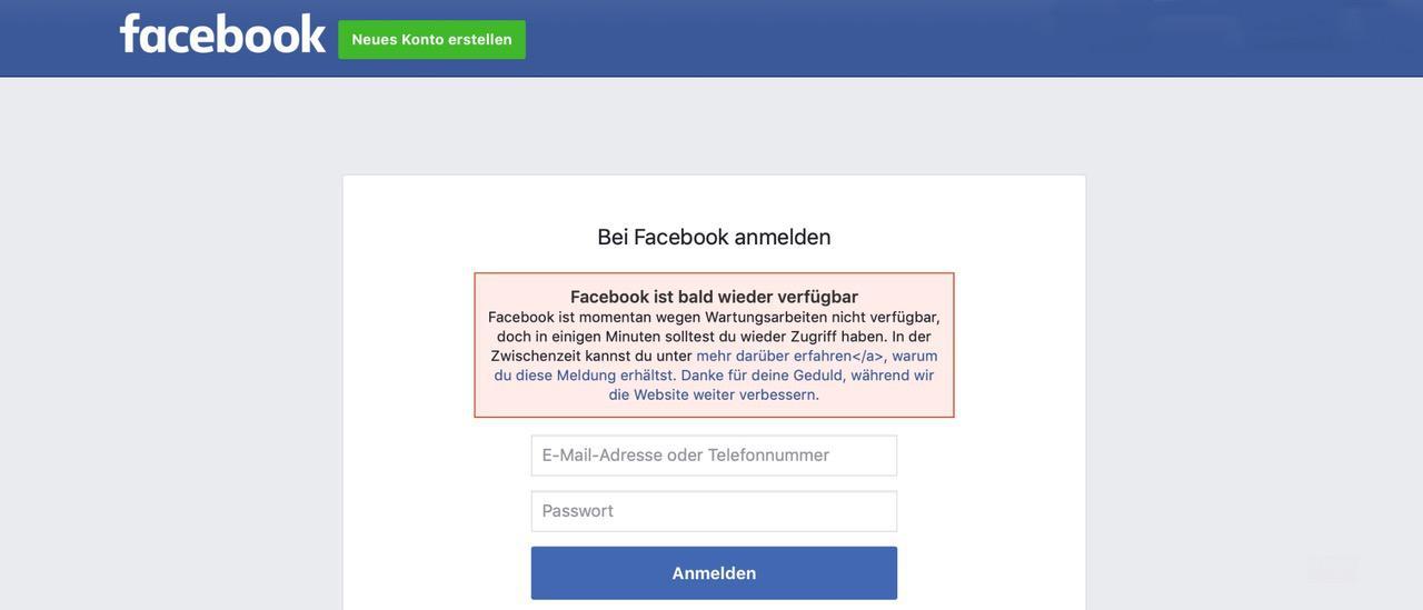Facebook ist dann mal down und twittert Störung bei Twitter