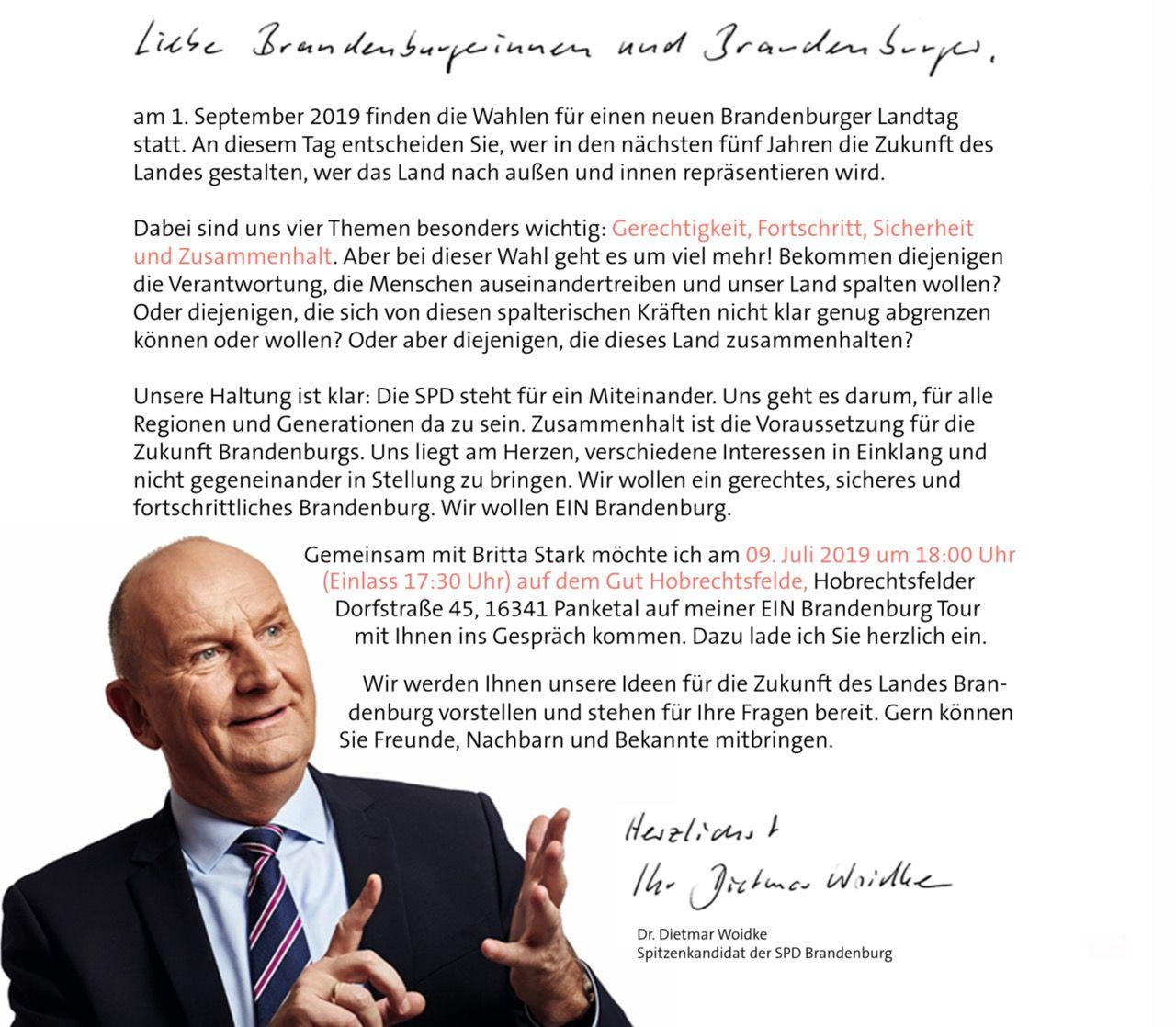 Ministerpräsident Dr. Dietmar Woidke zu Gast in Hobrechtsfelde