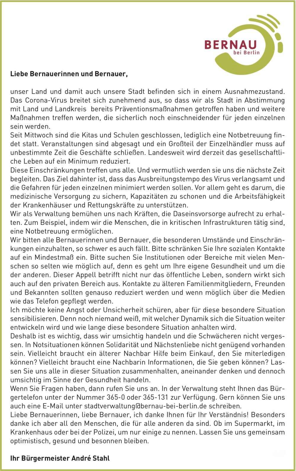 Corona-Statement Bürgermeister André Stahl - Bernau bei Berlin