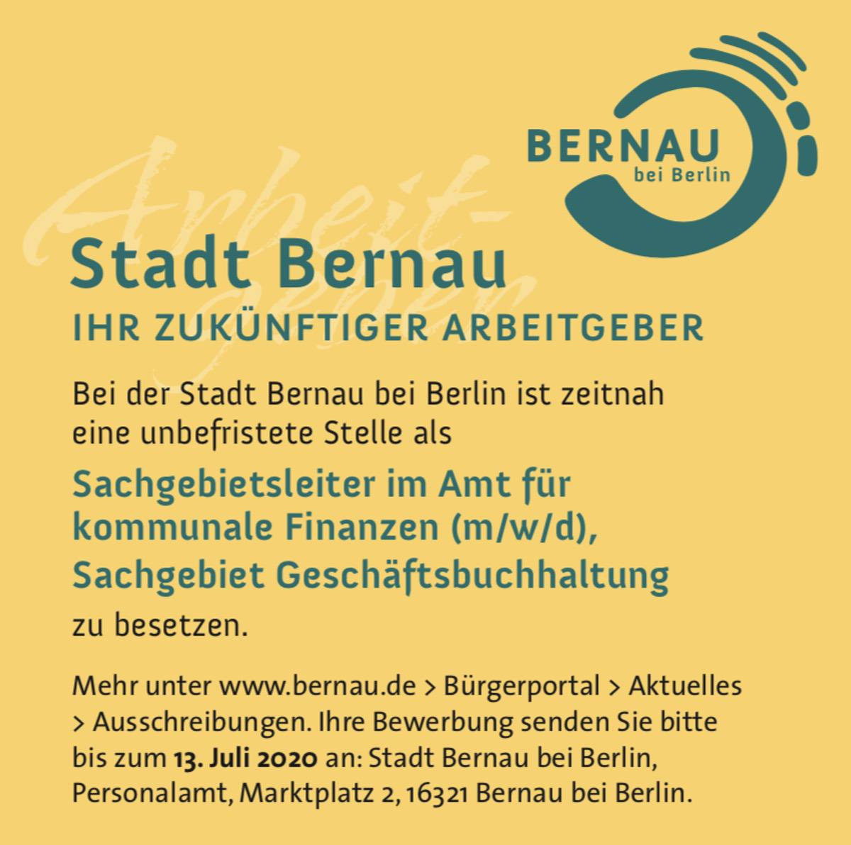 Stellenangebot der Stadt Bernau
